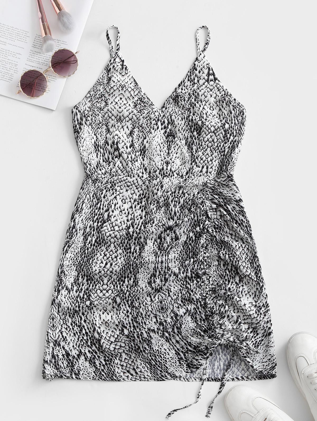 Cami Printed Cinched Surplice Dress