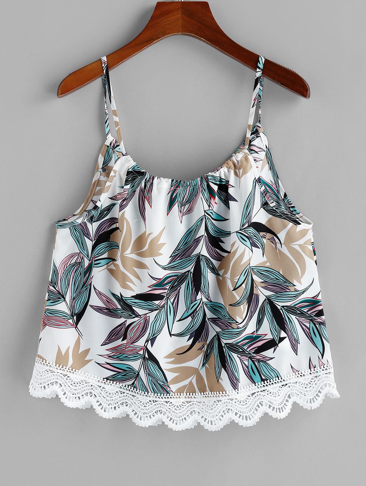 ZAFUL Lace Trim Leaf Print Cami Top