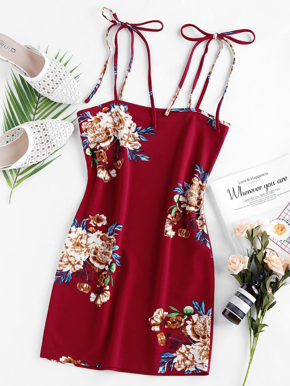 ZAFUL Floral Print Bodycon Dress