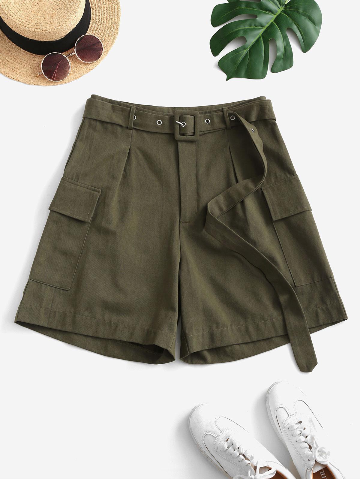 ZAFUL High Waisted Buckle Belted Flap Pockets Cargo Shorts