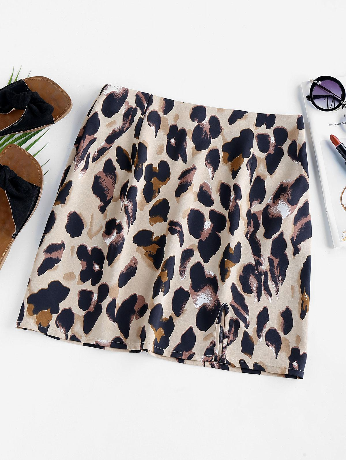 ZAFUL Slit Leopard Print Mini Skirt thumbnail