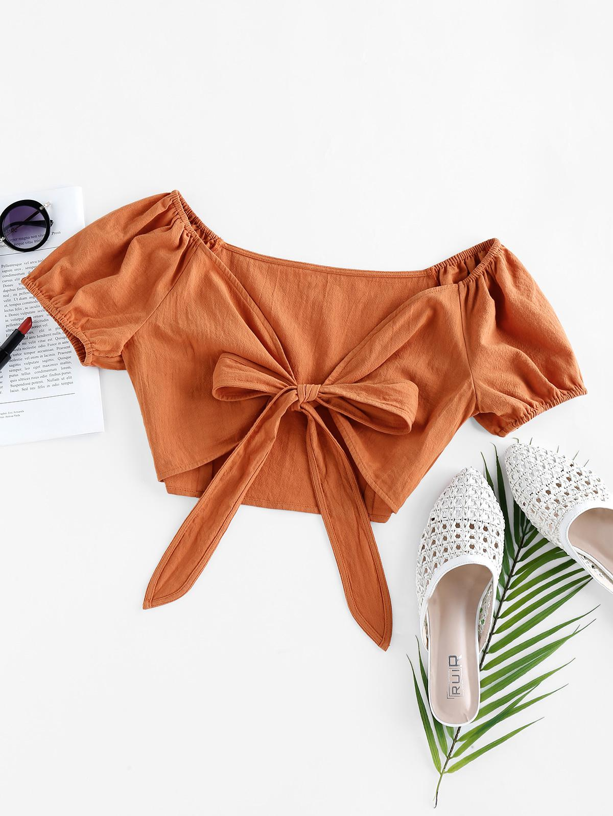ZAFUL Puff Sleeve Front Tie Crop Top