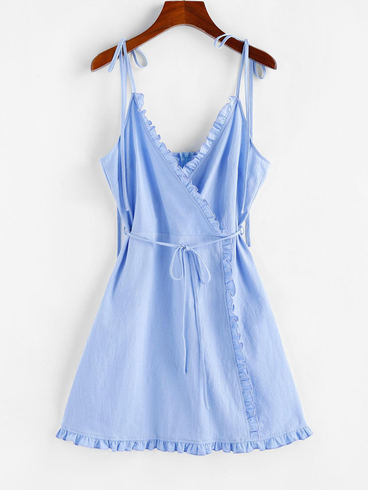 ZAFUL Ruffle Tie Shoulder Mini Dress