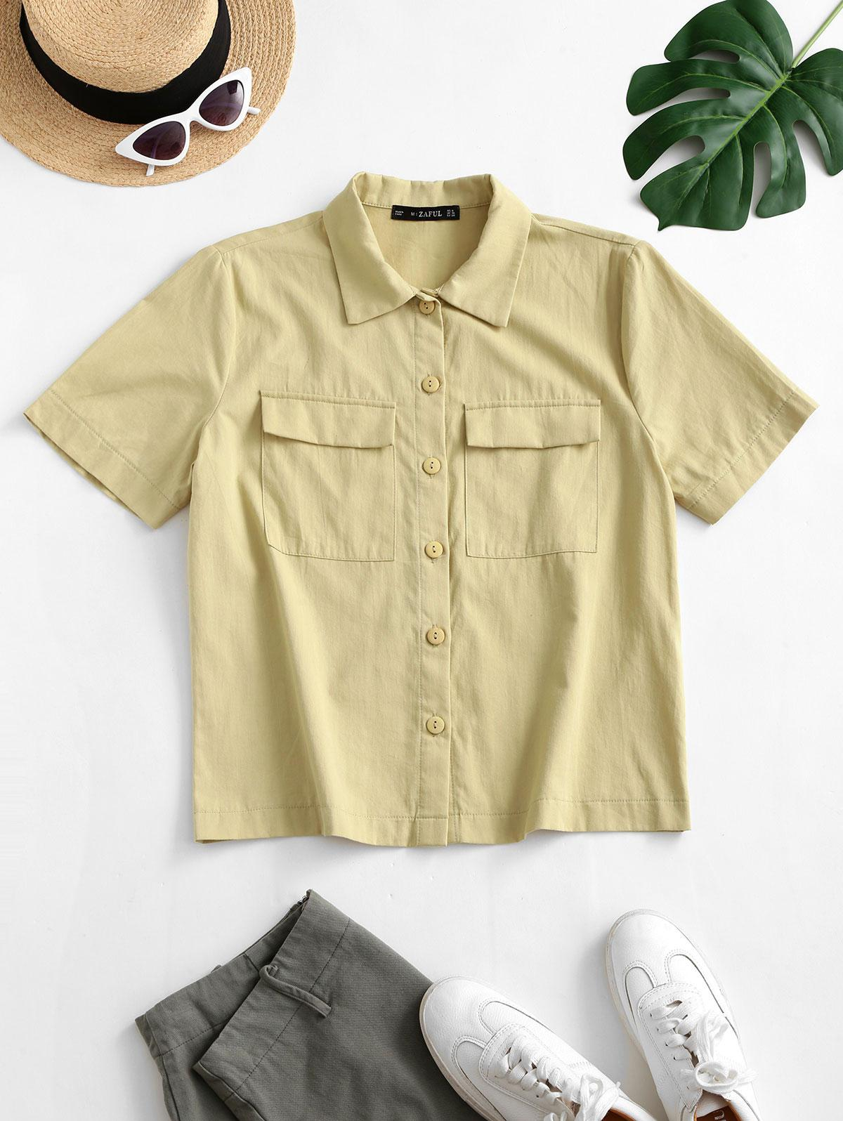 ZAFUL Button Down Solid Flap Pockets Shirt