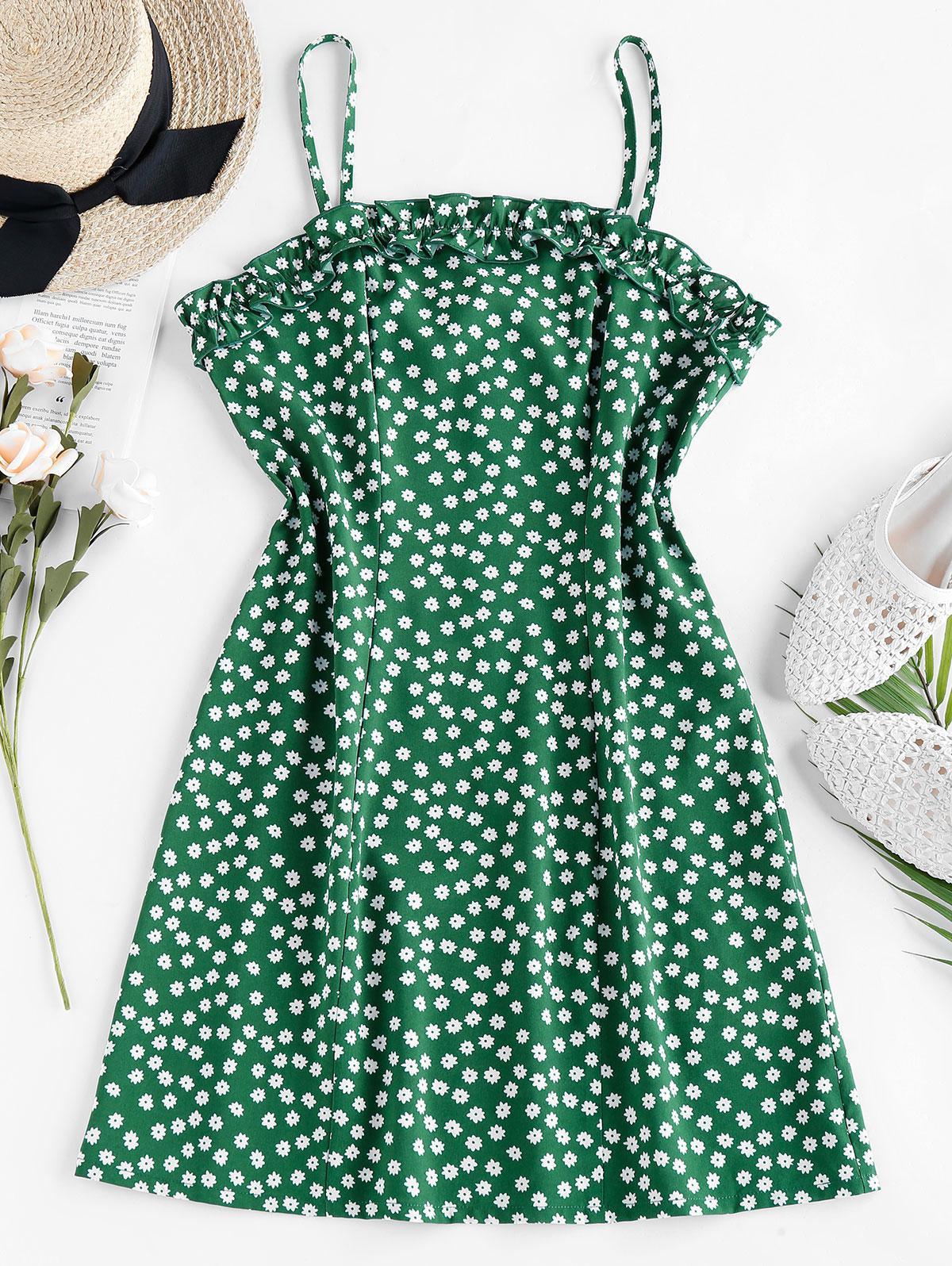 ZAFUL Ruffle Ditsy Print Mini Cami Dress