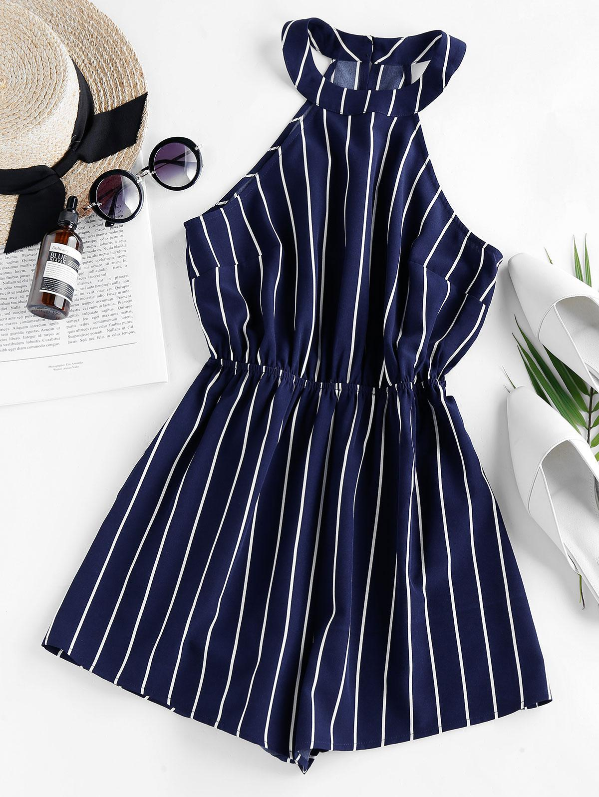 ZAFUL Stripe Sleeveless Romper