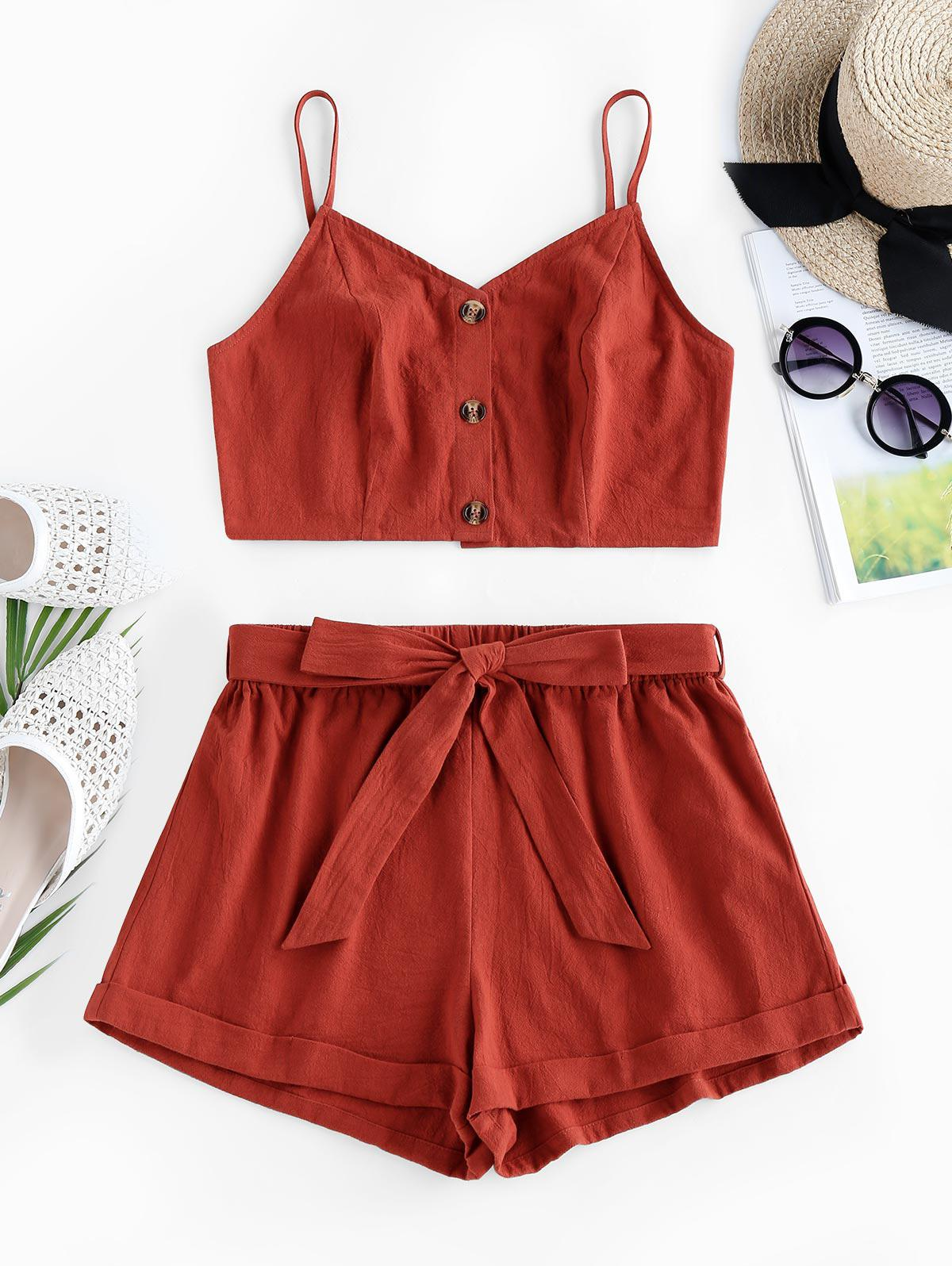 ZAFUL  Crop Top and Belted Two Piece Shorts Set