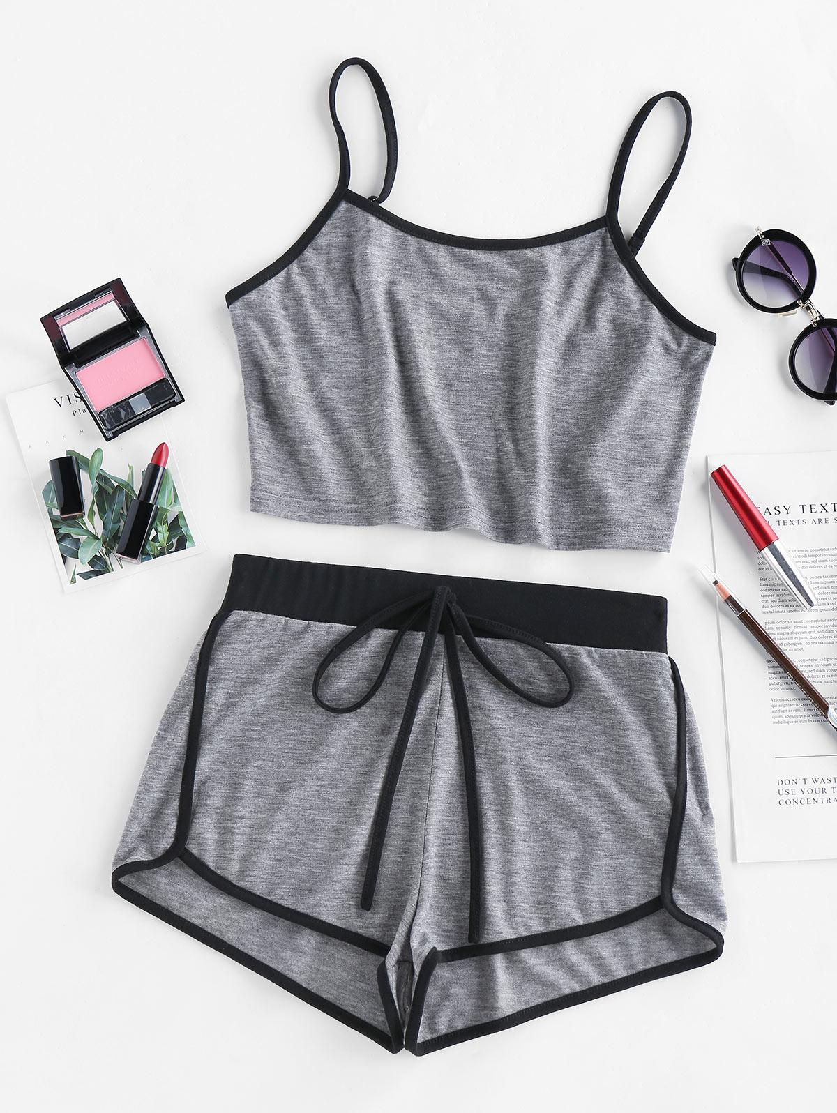 ZAFUL Contrast Trim Camisole And Dolphin Shorts Set