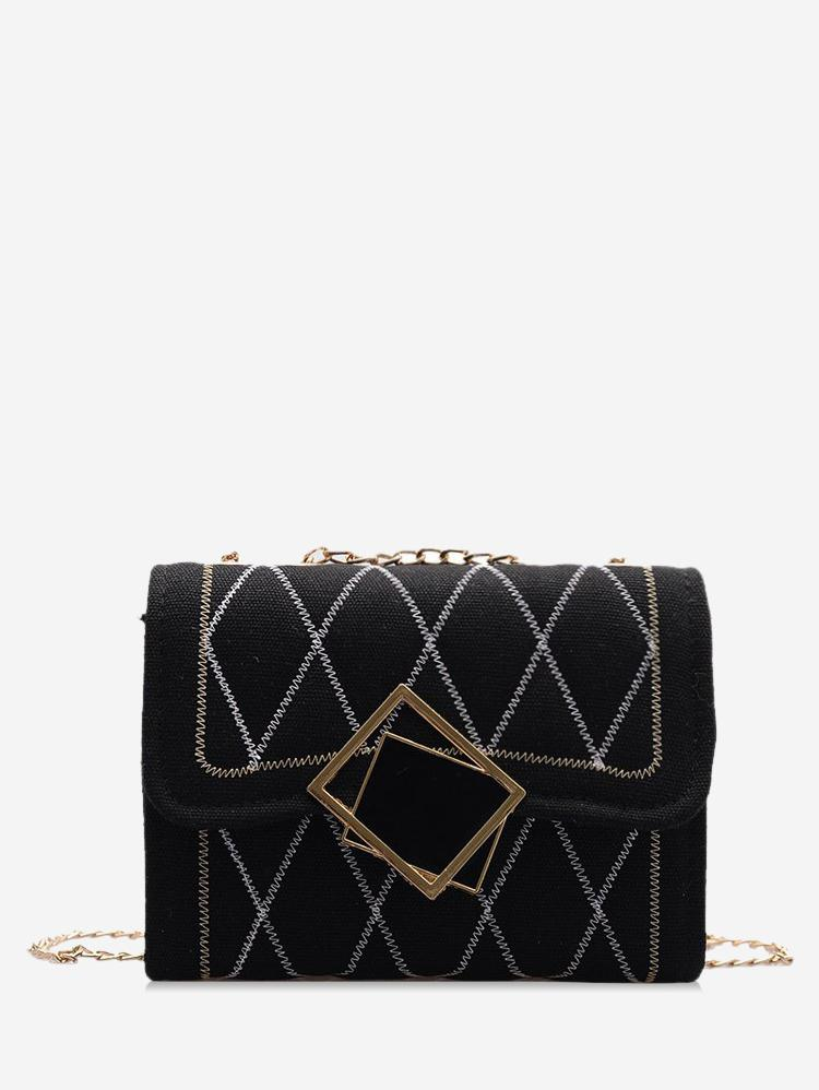 Rhombus Pattern Chain Quilted Crossbody Bag