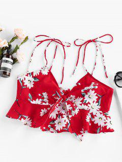 ZAFUL Tied Floral Print Flounce Crop Blouse - Red Xl