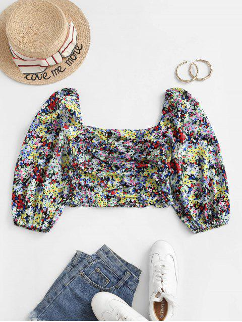 womens Smocked Back Colorful Floral Milkmaid Blouse - MULTI M Mobile