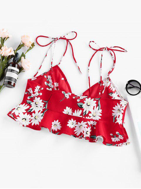 ladies ZAFUL Tied Floral Print Flounce Crop Blouse - RED XL Mobile