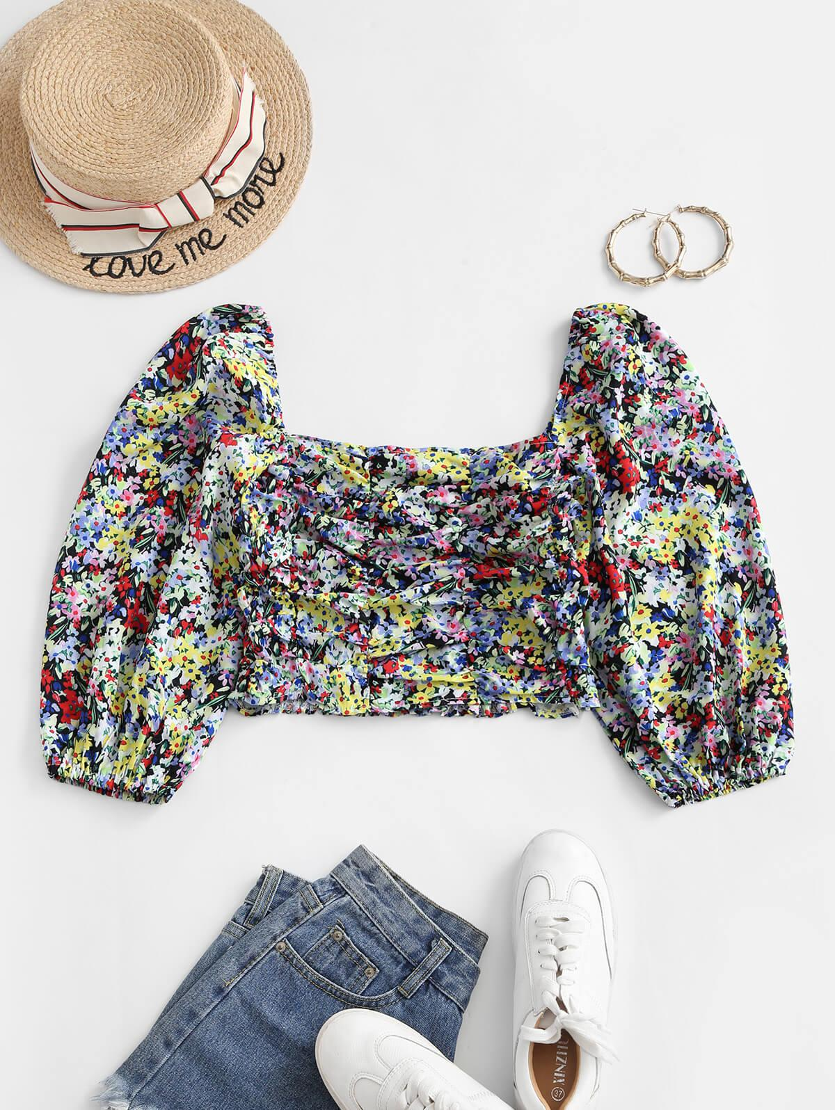 Smocked Back Colorful Floral Milkmaid Blouse thumbnail