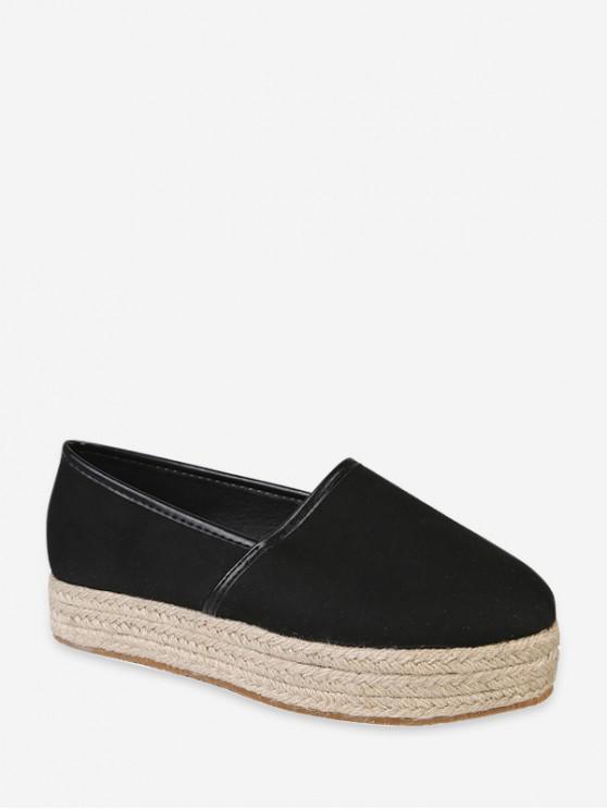 new Plain Round Toe Espadrilles Platform Shoes - BLACK EU 40