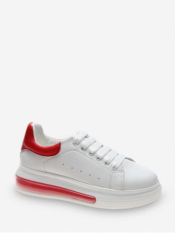 Zapato Tenis Casuales de PU de Dos Tonos - Rojo Lava EU 38