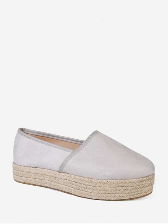 latest Plain Round Toe Espadrilles Platform Shoes - WHITE EU 40