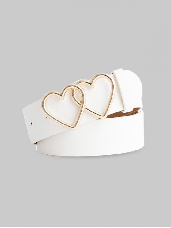 Cinturon Doble Hebilla de Corazón - Blanco