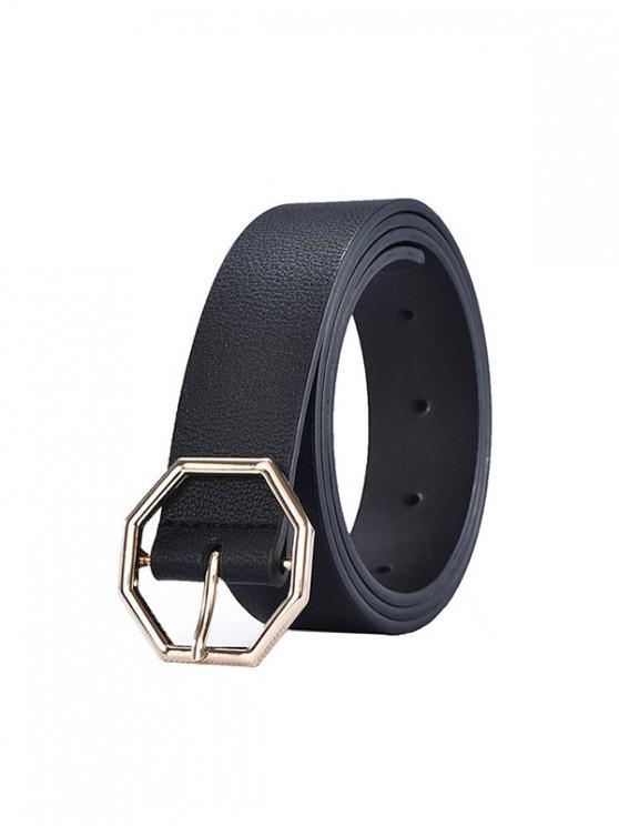 Cinturon Jeans Geométricos con Hebilla - Negro