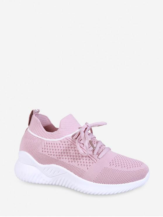 ladies Striped Breathable Mesh Sport Sneakers - LIGHT PINK EU 40