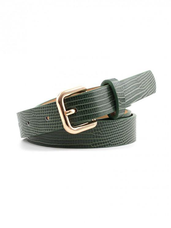 Cinturón Cuadrado de Hebilla con Textura - Mar Verde Mediana