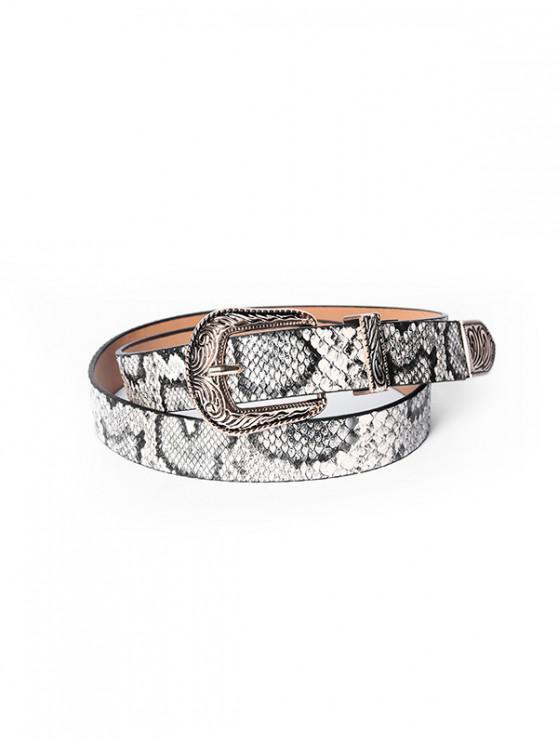 Cinturón de Hebilla Tallada con Estampado de Piel de Serpiente - Blanco