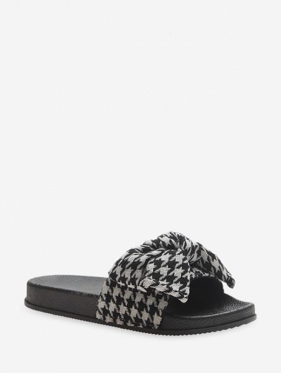 buy Bowknot Houndstooth Print Casual Flat Slides - BLACK EU 38