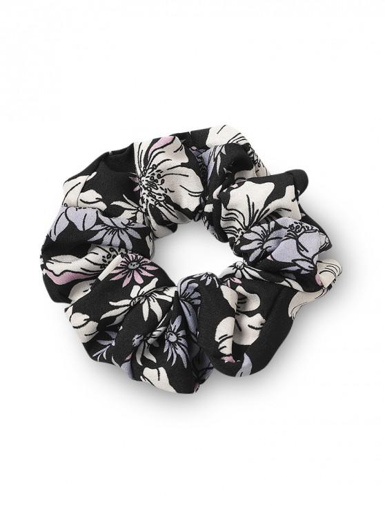 womens Floral Printed Stretch Fabric Scrunchy - BLACK