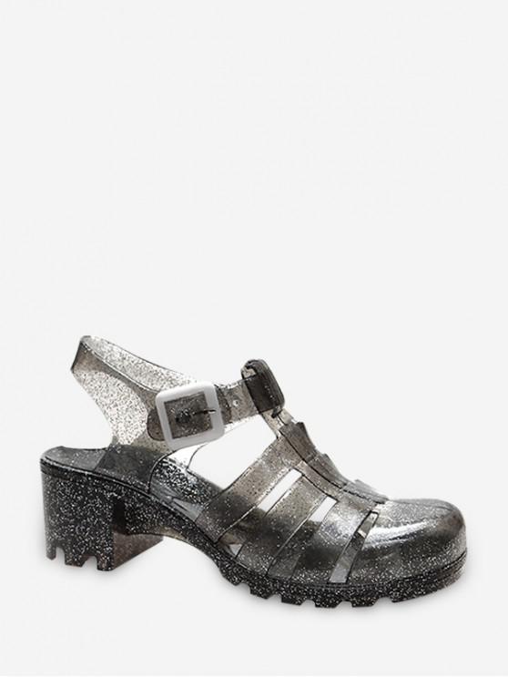 Sandalias de Tacón Grueso con Cordones - Gris EU 35