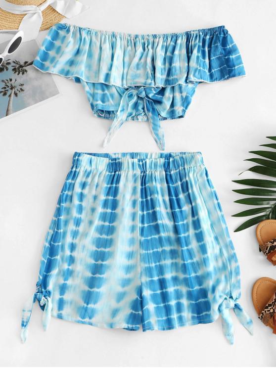 ZAFUL Tie Dye Flounce Alças conjunto de duas peças - Azul M