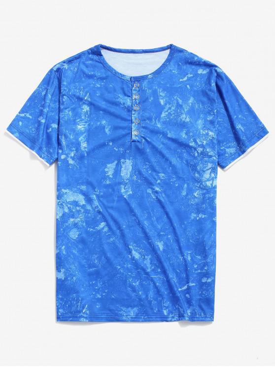 buy Tie Dye Print Short Sleeve Henley T-shirt - BLUE XS