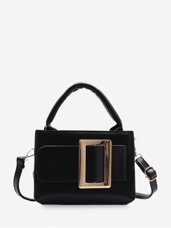 outfit Buckle Embellished Square Crossbody Bag - BLACK