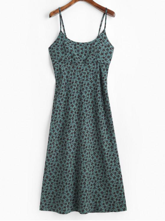 best Lace Up Back Ditsy Floral Cami Dress - MULTI-A M
