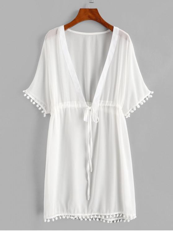 shop Drawstring Chiffon Pompoms Beach Dress - WHITE XL