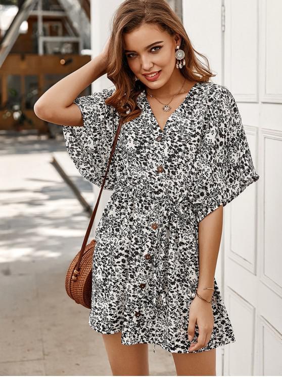 fashion Tiny Floral Buttoned Drawstring Dress - BLACK L