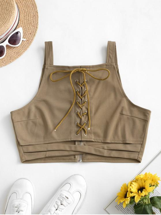 hot Criss Cross Lace Up Cut Out Tank Top - TAN S