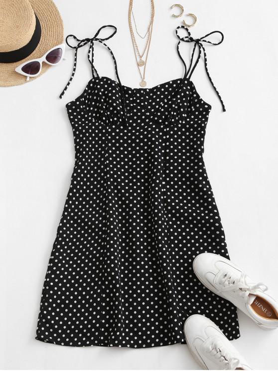 sale Tie Shoulder Polka Dot Mini Dress - BLACK L