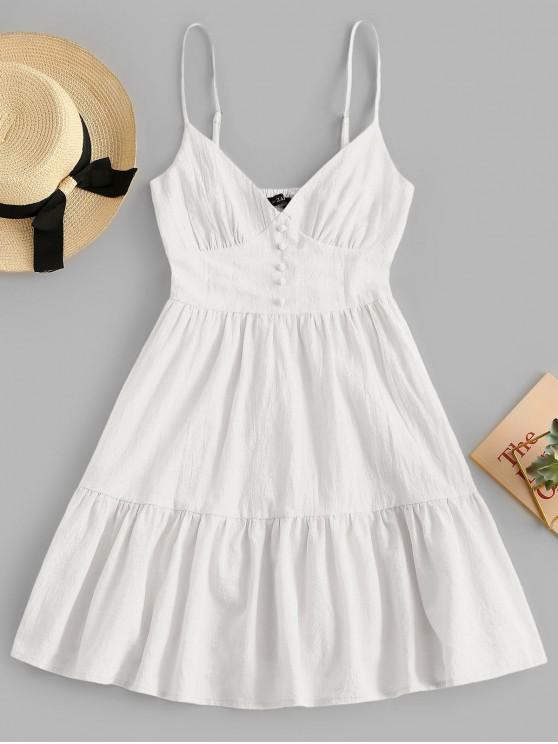 online ZAFUL Button Embellished Smocked Flounce Hem Cami Dress - WHITE M