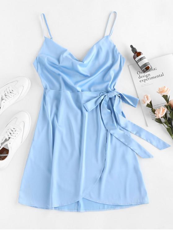 women ZAFUL Tie Front Satin Mini Dress - SEA BLUE M