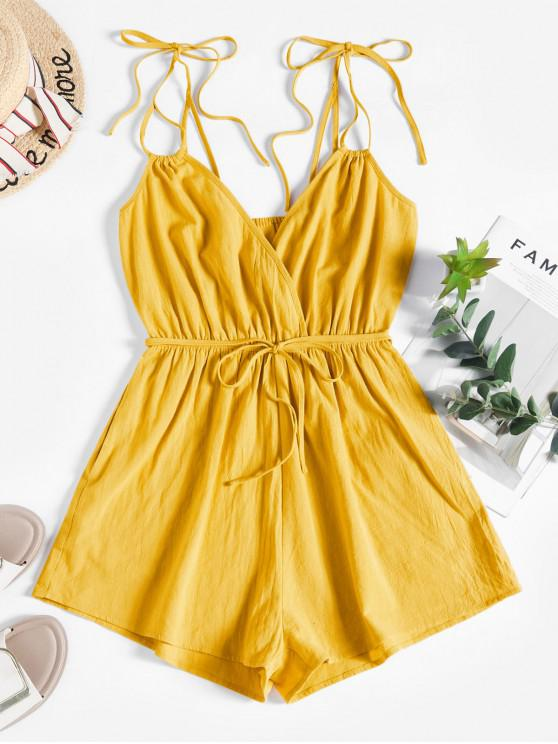 sale ZAFUL Tie Belted Surplice Romper - BEE YELLOW L