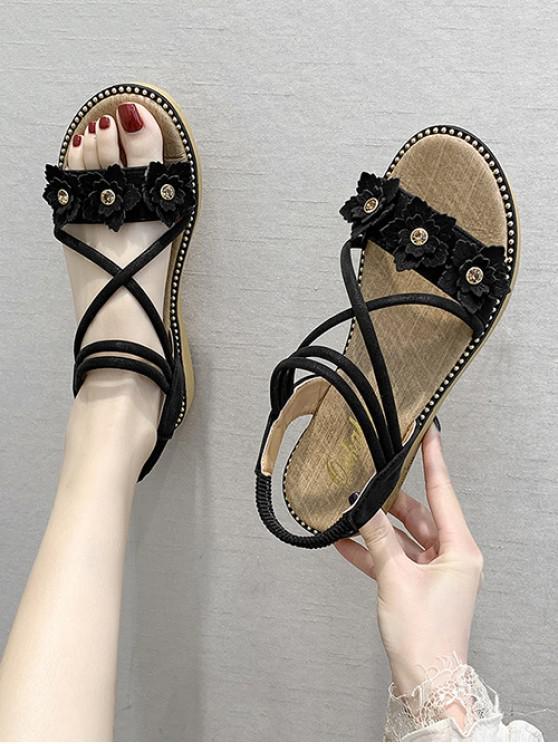 women Floral Ankle Strap Flat Sandals - BLACK EU 38