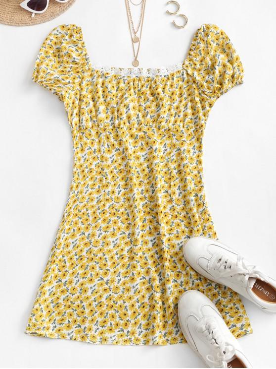 shops Smocked Crochet Trim Ditsy Floral Milkmaid Dress - YELLOW L