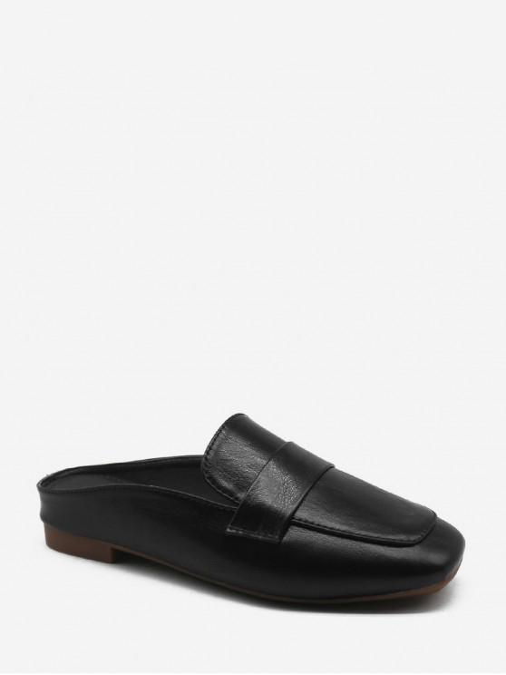 عادي مربع تو جلد متعطل حذاء - أسود الاتحاد الأوروبي 38