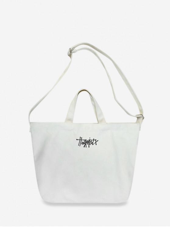 women Letter Canvas Crossbody Bag - WHITE