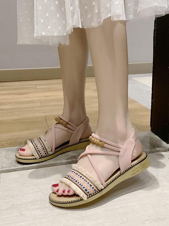 chic Fringe Trim Ankle Strap Ethnic Sandals - LIGHT PINK EU 38