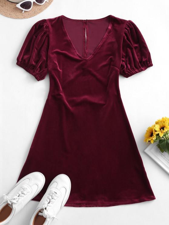 hot Velvet Cut Out Back Mini Dress - RED WINE M