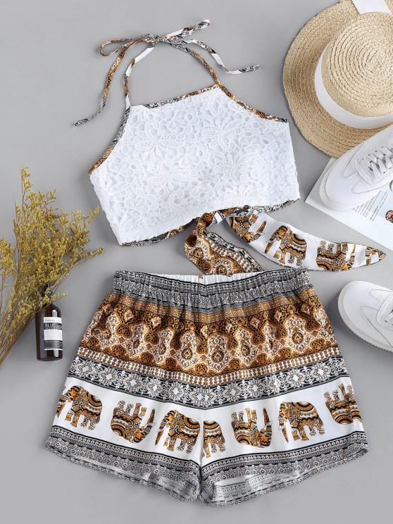 shop ZAFUL Back Tie Ethnic Print Co Ord Set - MULTI L