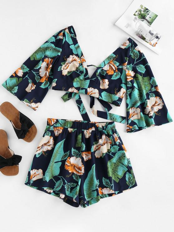 online ZAFUL Tied Tropical Print Co Ord Set - DARK SLATE BLUE L