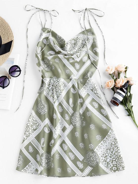 unique ZAFUL Cowl Front Ethnic Print Backless Mini Dress - LIGHT GREEN S