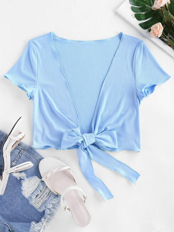 ladies ZAFUL Ribbed Tie Front Crop T Shirt - SKY BLUE L
