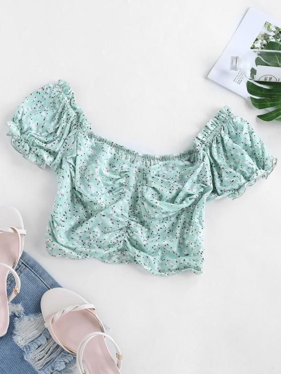 ladies ZAFUL Ditsy Print Puff Sleeve Crop Blouse - AQUAMARINE M